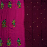 Rose Kanchi Silk Saree With Kalamkari Applique Design And Zardosi , Stone And Thread Embroidery  With Brown Pallu And Blouse