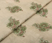 Cream Tussar Fabric with Embroidery Highlights