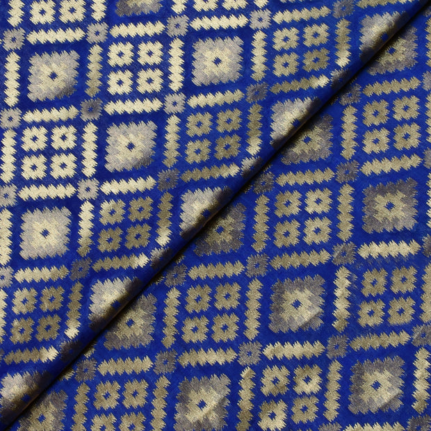 Ink Blue Zari Design Banarasi Silk Fabric
