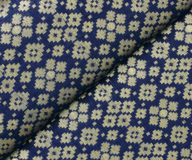 Navy Blue Banarasi Silk Fabric with Butta