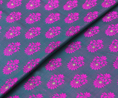 Teal Double Shaded Banarasi Silk Fabric With Rose Floral Butta Highlights