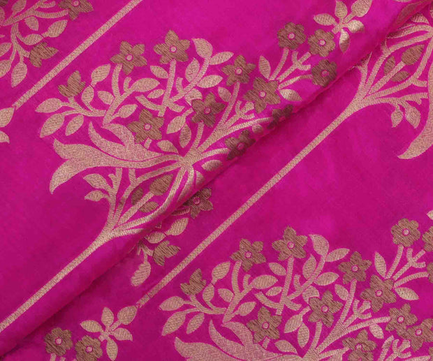 Pink Banarasi Silk Fabric with Floral Design