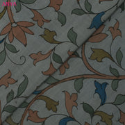 Grey Multi Floral Kanchi Pen Kalamkari Fabric