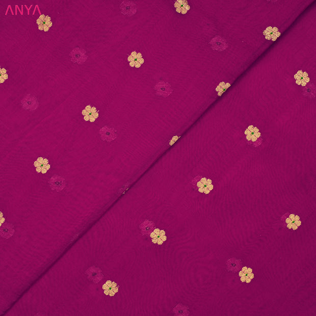 Magenta Tussar Fabric With Zari Border