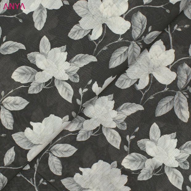 Grey Maheshwari Silk Fabric