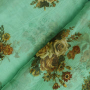 Sea Green Floral Printed Organza Silk Fabric