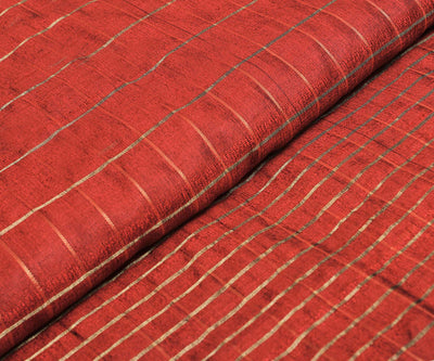 Rubby Red Raw Silk Fabric With Checks