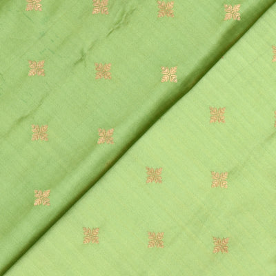 Apple Green Floral Zari Button Satin Banarasi Silk Fabric