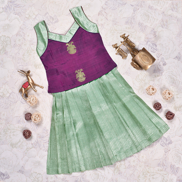 Purple With Apple Green Frock