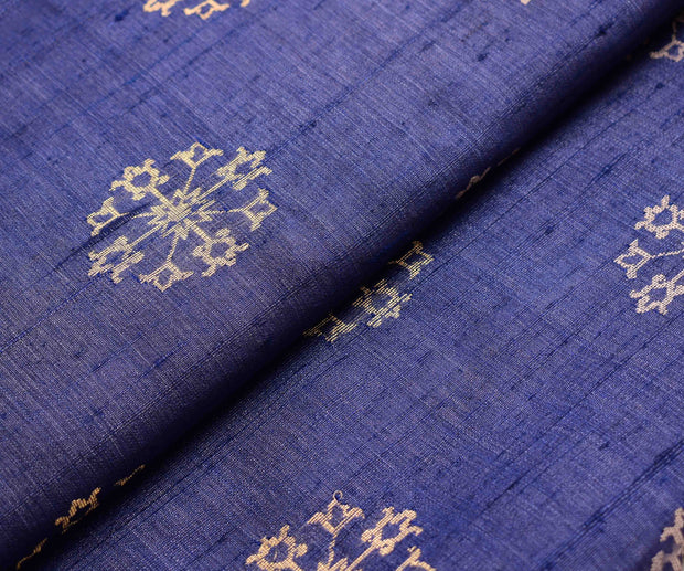 Indigo Blue Fabric With Gold Floral Zari Butta Highlights