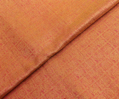 Goldish Orange Checked Kanchi Silk Fabric With Annapakshi Design