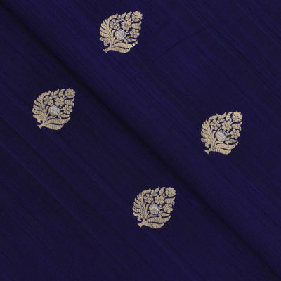 Indigo Blue Gold And Silver Zari Floral Raw Silk Fabric