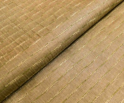 Burly Wood Tussar Fabric With Striped Sequins Highlights