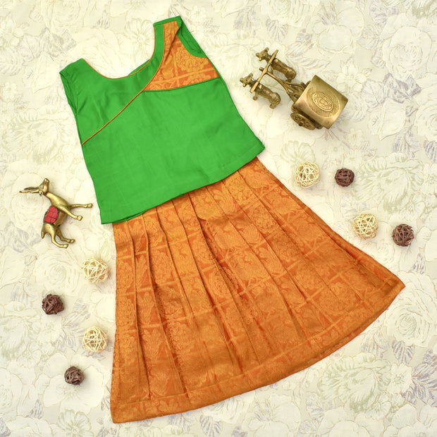 Green Top With Orange Skirt