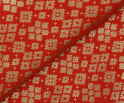 Orange Banarasi Silk Fabric with Silver Butta