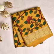 Mustard Pen Kalamkari Kanchi Silk Saree With Blouse
