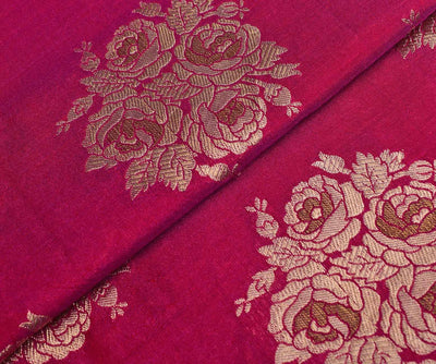 Rose Banarasi Silk Fabric With Floral Butta Highlights