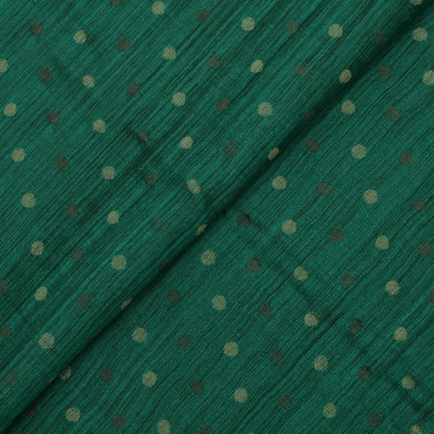 Bottle Green Tussar Fabric With Zari Butta Design