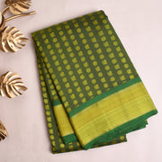 Olive Green Kanchi Silk Saree With Blouse