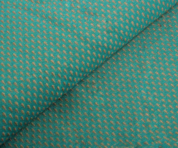 Peacock Green Banarasi Fabric with Self Design
