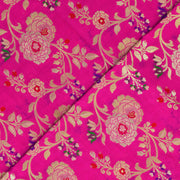 Rose Floral Gold Zari Banarasi Silk Fabric