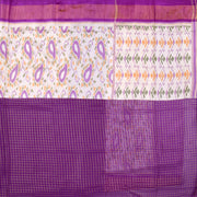 Half White Ikkath Silk And Lavender Kattam Georgette Saree With Lavender Silk Blouse