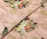 Peach Tussar Fabric with Floral Design and Zari Highlights