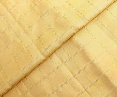 Butter Milk Kanchi Silk Fabric With Checked Zari Highlights