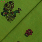 Dual Tone Green And Mustard Pen Kalamkari Fabric