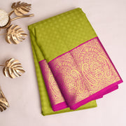 Avocado Green Kanchi Silk Saree With Pink Blouse