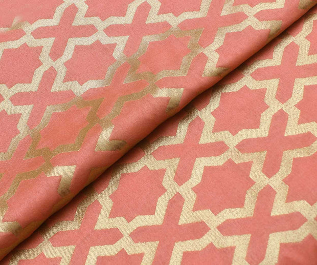 Peach Banarasi Silk Fabric With Geometrical Butta Highlights