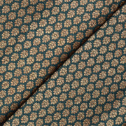 Peacock Green Antique Floral Butta Banarasi  Silk Fabric