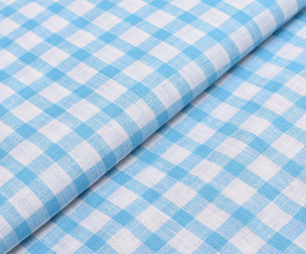 White Linen Fabric With Sky Blue Checks
