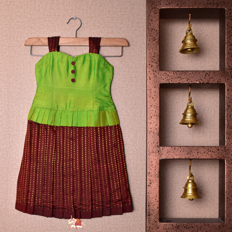 Dual Tone Mustard And Green With Brown Frock