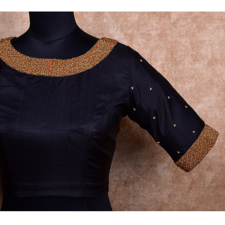 Black Kanchi Silk Ready Made Blouse with Embroidery