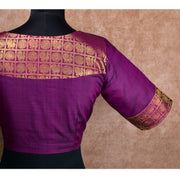 Purple Mayil and Chakram Checked Kanchi Silk Ready Made Blouse