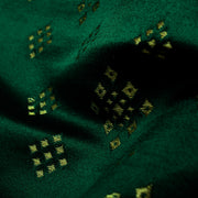 Bottle Green  Diamond Button Satin Banarasi Silk Fabric