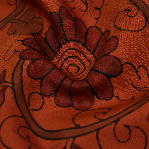 Orange Pen Kalamkari Fabric