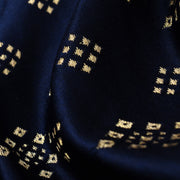 Indigo Blue Diamond Button Satin Banarasi Silk Fabric