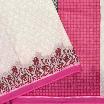 Half White Printed Bengal Cotton Saree Saree With Pink Floral Printed Blouse