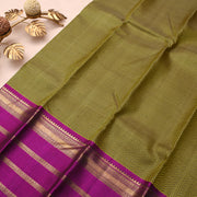 Goldish Grey Kanchi Silk Saree With Purple Blouse