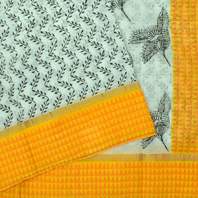 White Floral Printed Bengal Cotton Saree With Yellow Printed Temple Border And Yellow Floral Printed Blouse