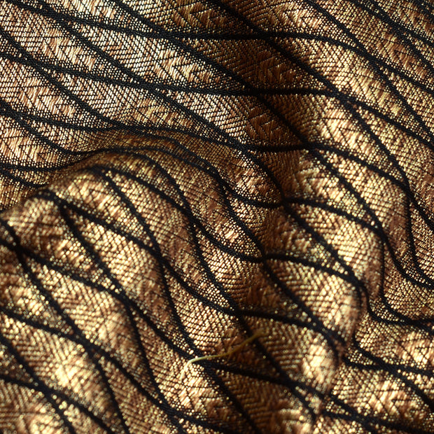 Black Diamond Antique Banarasi Silk Fabric