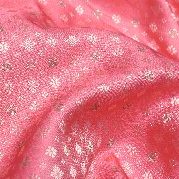 Peach Self Thread Zari Design Banarasi Silk Fabric
