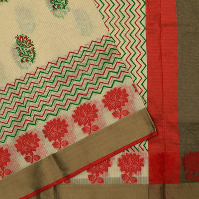 Half White Printed Zigzag  Kota Cotton Saree With Red  Thread Zari Border And Blouse
