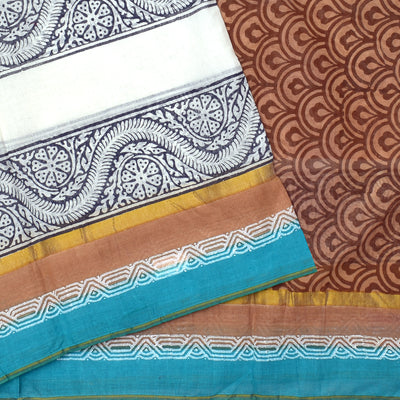 White Floral Printed Bengal Cotton Saree With Mustard Brown Floral Printed Blouse