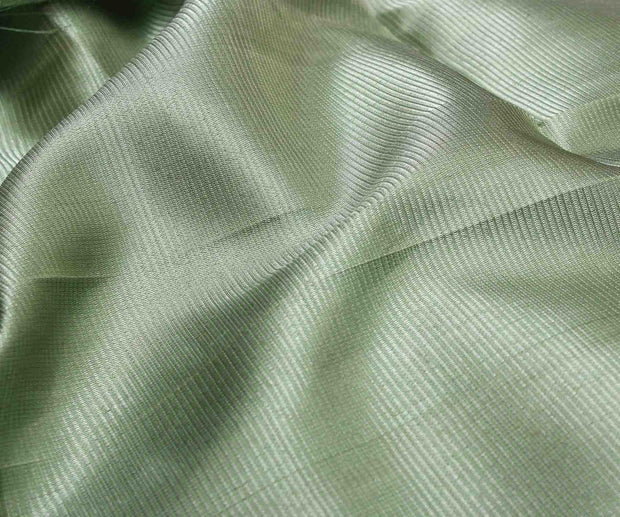Mint Kanchi Silk Fabric With Stripes Zari Design