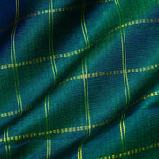 Dual Tone Peacock Green And Blue Zari Kattam Kanchi Silk Fabric