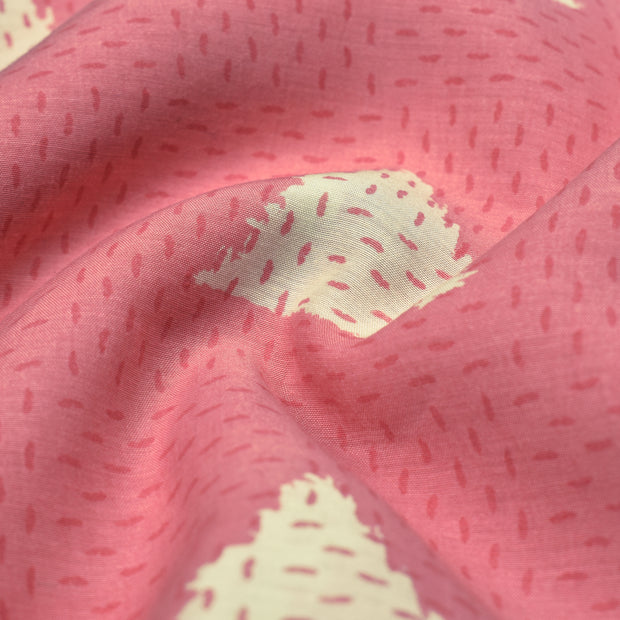 Pink Diagonal Printed Soft Cotton Fabric