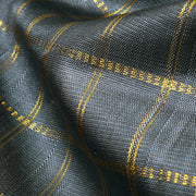 Dark Grey Zari Kattam Kanchi Silk Fabric
